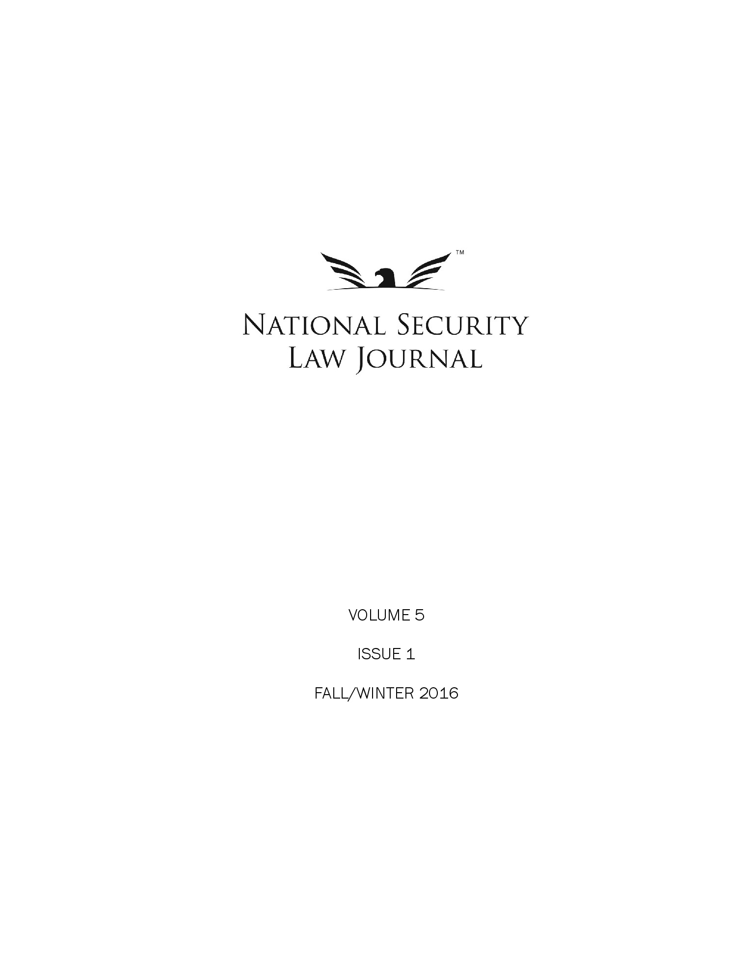 NSLJ Vol. 5 Iss. 1 Title Page